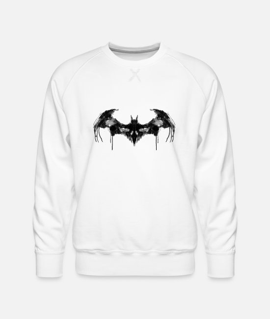 Super Héros Sweat-shirts - Batman logo noir Homme Tee Shirt - Sweat ras-du-cou Premium Homme blanc