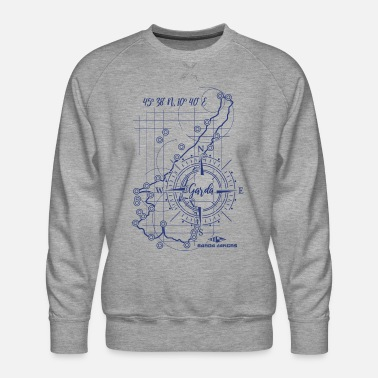 Garda Lakers compass map - Men's Premium Sweatshirt