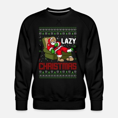 Eland Lazy Christmas Ugly Sweater Santa Claus - Mannen premium sweater