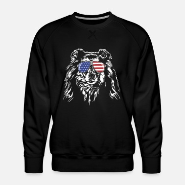 Long-haired Long-haired Herd Dog Long haired COLLIE America flag Wilsigns dogs - Men's Premium Sweatshirt
