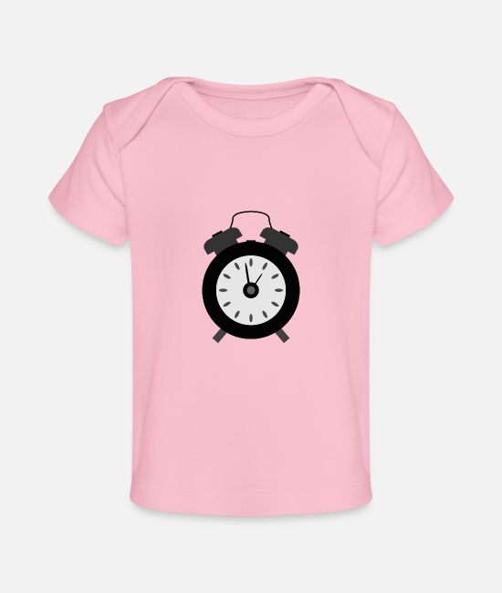 Single Baby Clothes - alarm clock - Organic Baby T-Shirt light pink