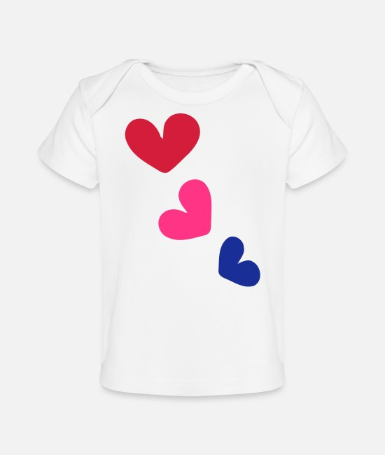 Heart Baby T-Shirts - 3_colorful hearts - Organic Baby T-Shirt white