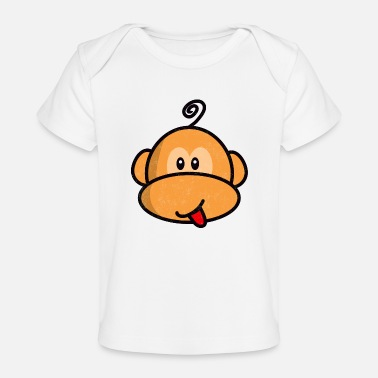 Doux young monkey with tongue out vintage - Organic Baby T-Shirt