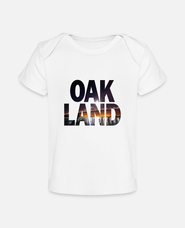 Athletics Baby T-Shirts - Oakland California Cityscape - Organic Baby T-Shirt white