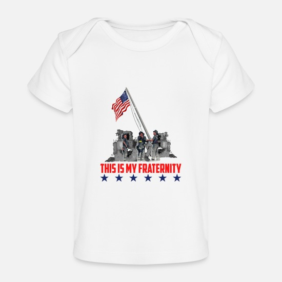 Usa Baby Clothes - This is My Fraternity American Flag T-shirt - Organic Baby T-Shirt white