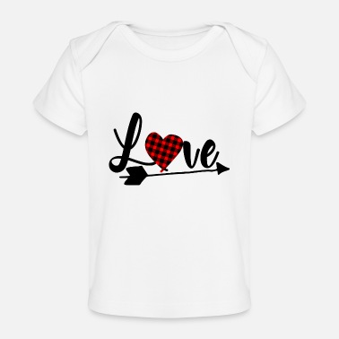 Love Valentine's Day Heart with Fabric Pattern Gift - Camiseta orgánica para bebé