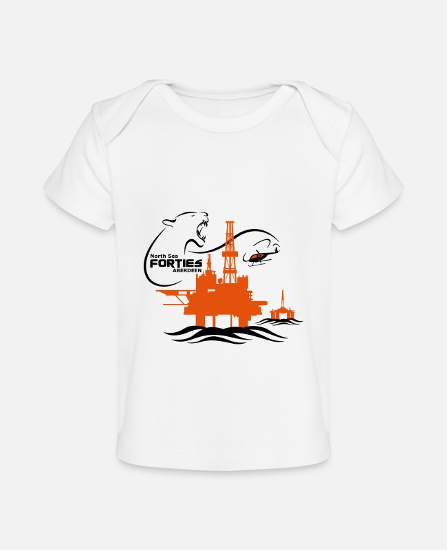 Occupation Baby T-Shirts - Forties Oil Rig Platform North Sea Aberdeen - Organic Baby T-Shirt white