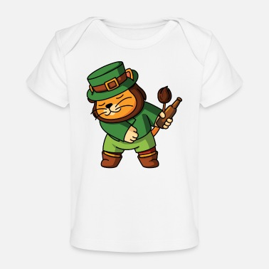 Green Beer Flossing Lion Leprechaun Zoo animals dancing - Organic Baby T-Shirt