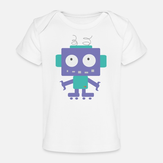 School Boys Baby Clothes - Cute Little Robot - Organic Baby T-Shirt white