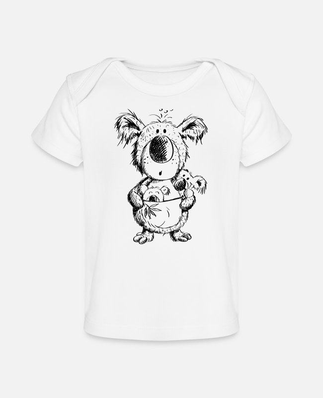 Drawing Baby T-Shirts - Koala Mom With Babies - Organic Baby T-Shirt white
