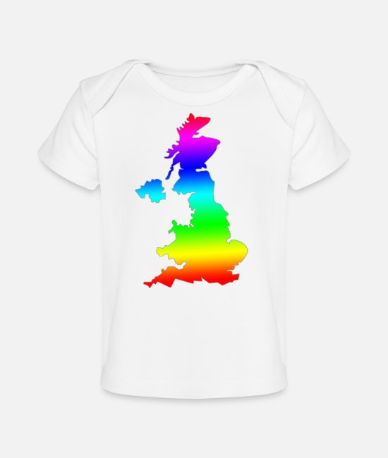 Gay Pride Baby T-Shirts - LGBT Pride Rainbow UK Design - Baby Bio-T-Shirt Weiß