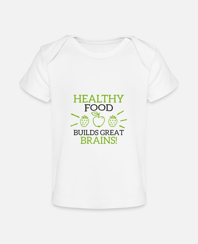 Animal Welfare Baby T-Shirts - Healthy Food Builds Great Brains! - Organic Baby T-Shirt white