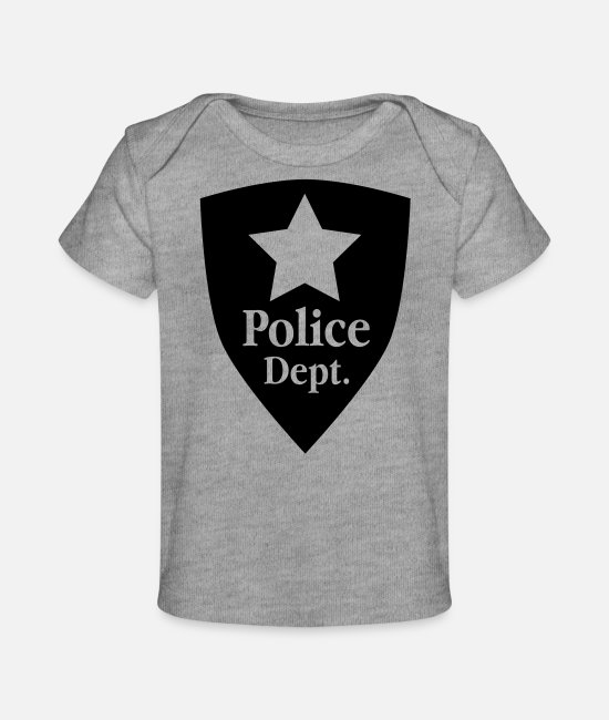 Carnival Baby Clothes - Police Uniform - Emblem page - Organic Baby T-Shirt heather grey