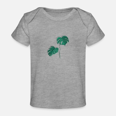 Leaf Monstera, Lineart, plant, Pflanze, Blad, Minimaal - Baby bio-T-shirt
