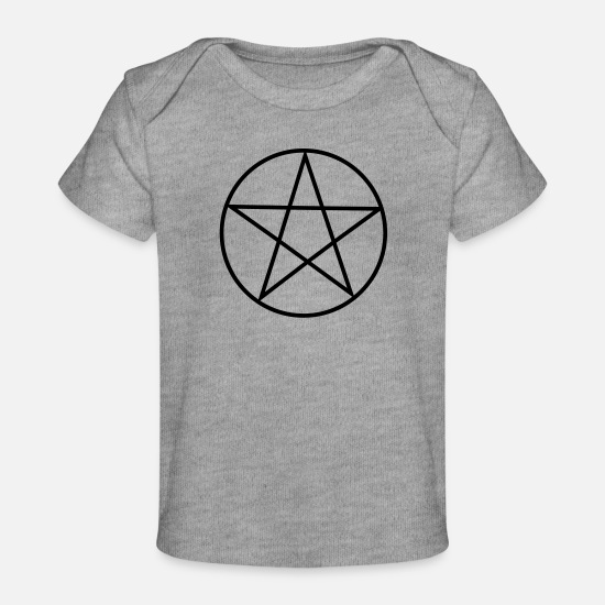 Star Baby Clothes - Pentagram / Pentacle - Organic Baby T-Shirt heather grey