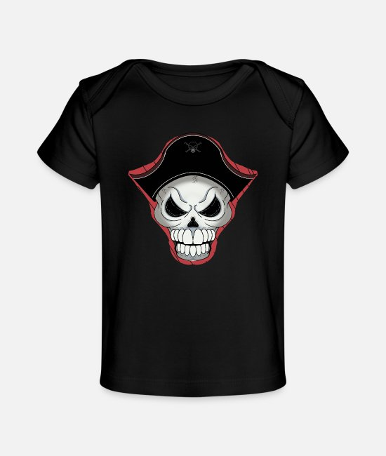 Pirate Baby Clothes - pirate skull - Organic Baby T-Shirt black