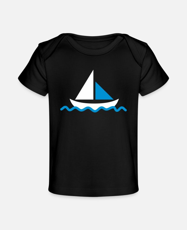Graphic Art Baby T-Shirts - Sailing ship - Organic Baby T-Shirt black
