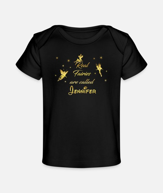 Princess Baby T-Shirts - fairy fairies fairy first name Jennifer - Organic Baby T-Shirt black