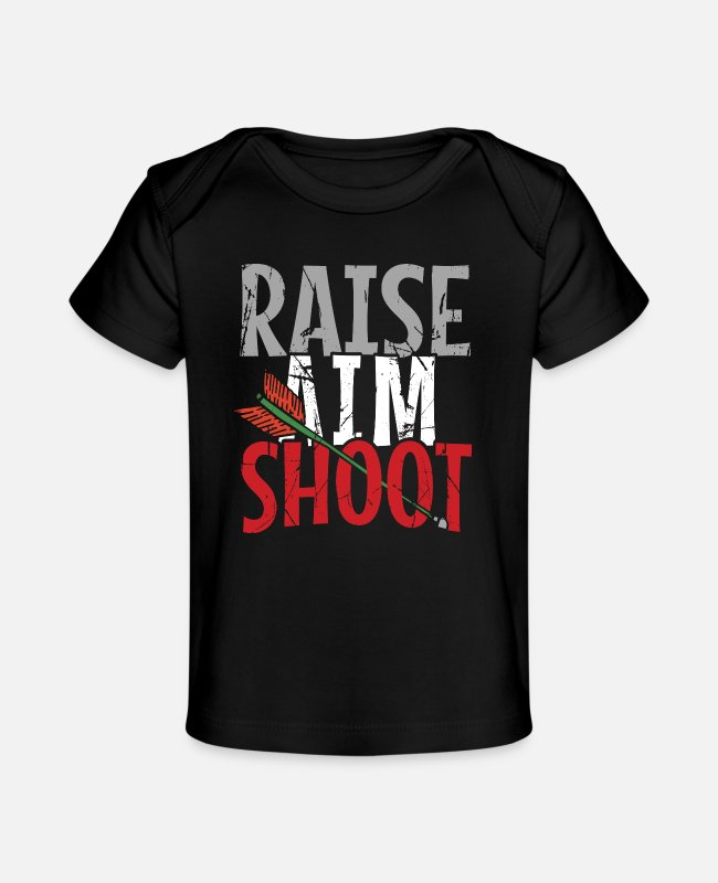 Arrow Baby T-Shirts - Raise Aim Shoot - Organic Baby T-Shirt black