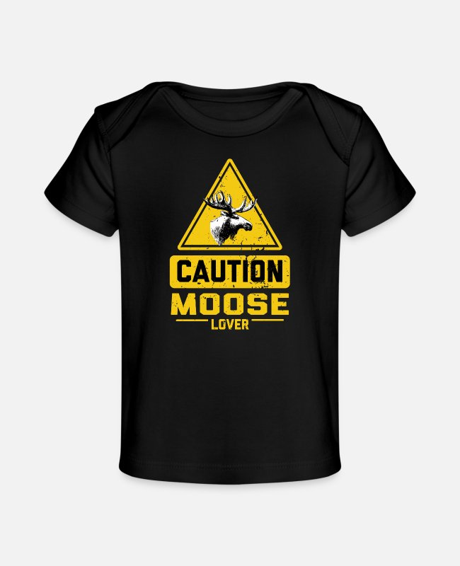 Alces Baby shirts - LET OP Moose Lover - Baby bio-T-shirt zwart