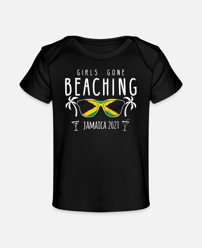 Meisjesreis Jamaica 2021 Baby shirts - Girls Gone Beaching Bachelorette Girls Trip - Baby bio-T-shirt zwart