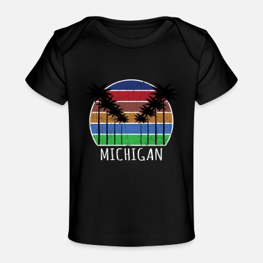 Lake Michigan Palm Tree Summer Surfing Vacation Michigan - Baby Bio-T-Shirt