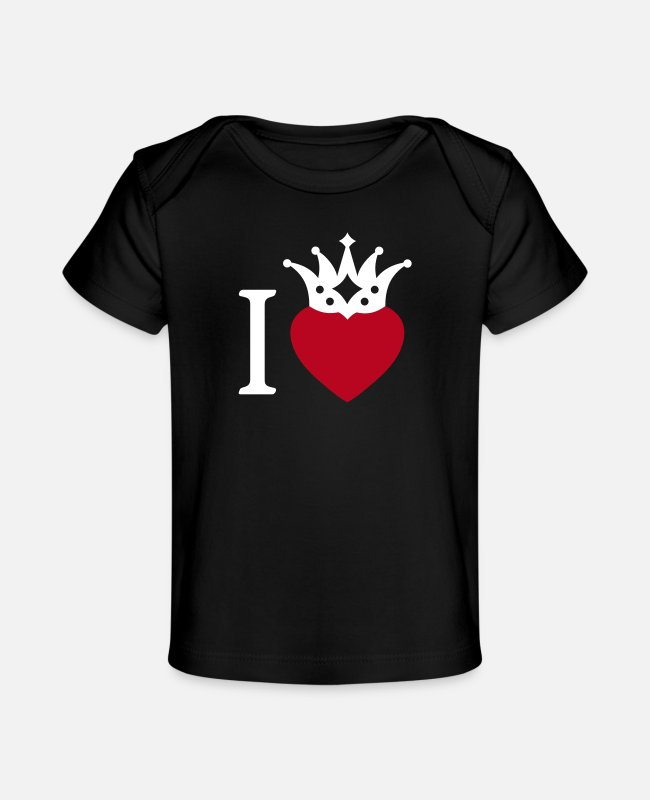 Heart Baby T-Shirts - I LOVE ... with crown 2 - Organic Baby T-Shirt black