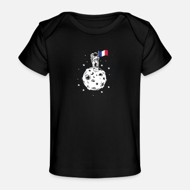 Flag Astronaut with French flag on the moon - Organic Baby T-Shirt