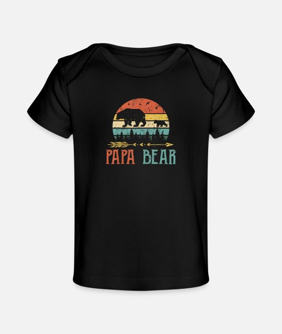 Father's Day Baby T-Shirts - Papa bear T Shirt Vintage Daddy Wildling Father - Organic Baby T-Shirt black