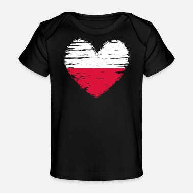 Poland heart flag flag coat of arms - Organic Baby T-Shirt