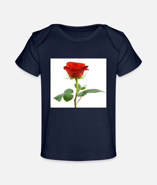 Red Baby Clothes - Red rose t-shirt - Organic Baby T-Shirt dark navy
