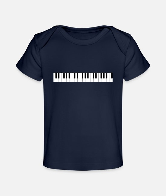 Keyboard Baby Clothes - The keyboard of the piano - Organic Baby T-Shirt dark navy