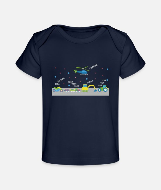 Vehicle Baby T-Shirts - Vehicle concert for toddlers - Organic Baby T-Shirt dark navy