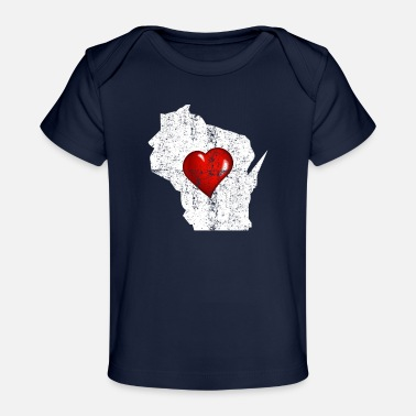 Distressed Wisconsin Heart Distressed - Organic Baby T-Shirt