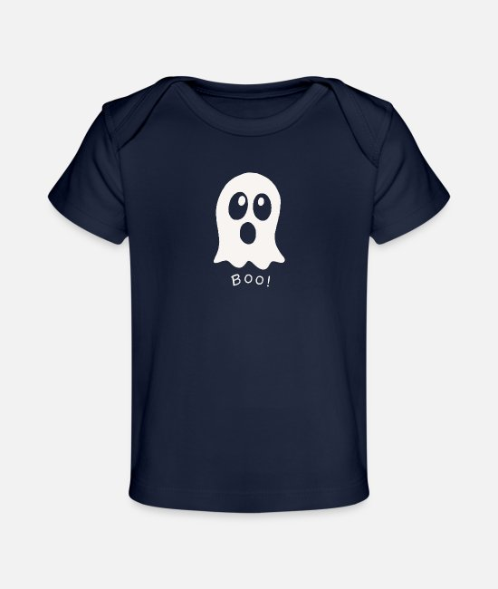 Birthday Baby Clothes - Boo cute funny ghost Halloween costume 2 1 - Organic Baby T-Shirt dark navy