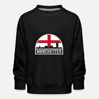 Cute Country T Manchester England Skyline Silhouette Englische Flagge - Kinder Premium Pullover