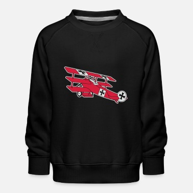 Fokker Airplane Flugzeug Roter Baron Red World War - Kids' Premium Sweatshirt