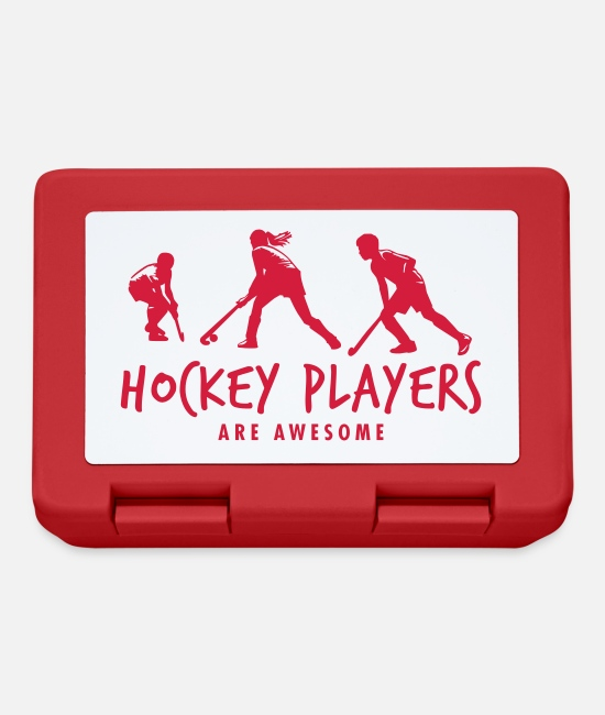 Floor Hockey Lunchboxes - Hockey Players - Lunchbox red
