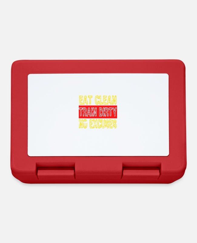 "Foul Lunchboxes - ""Eat Clean Train Dirty No Excuses"" tee design. - Lunchbox red"