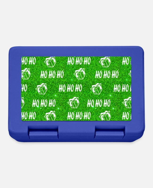 Loves Decorations Lunchboxes - Ho Ho Ho Green Santa Xmas Holiday Merry Christmas - Lunchbox royal blue