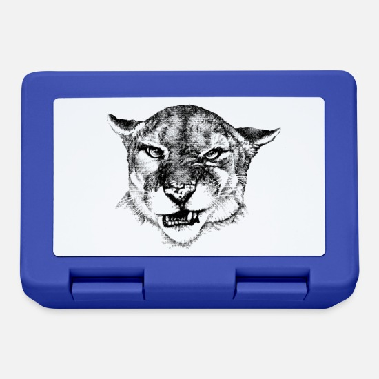 Growl Lunchboxes - Silver lion / mountain lion black and white (light prod.) - Lunchbox royal blue