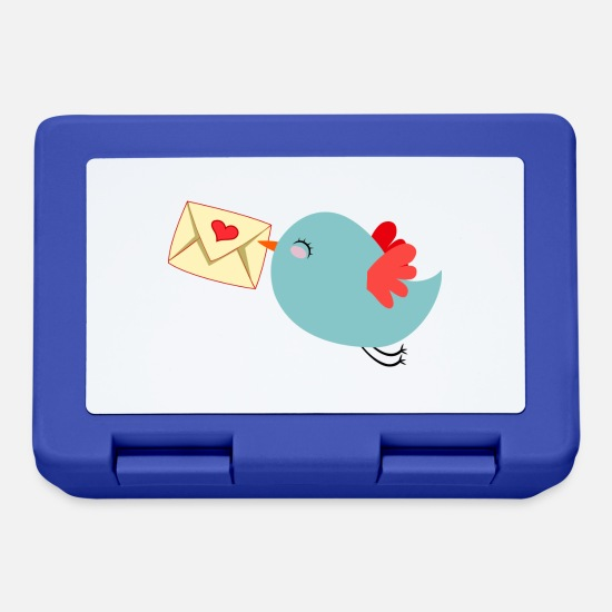 Love Lunchboxes - Bird with heart - Lunchbox royal blue