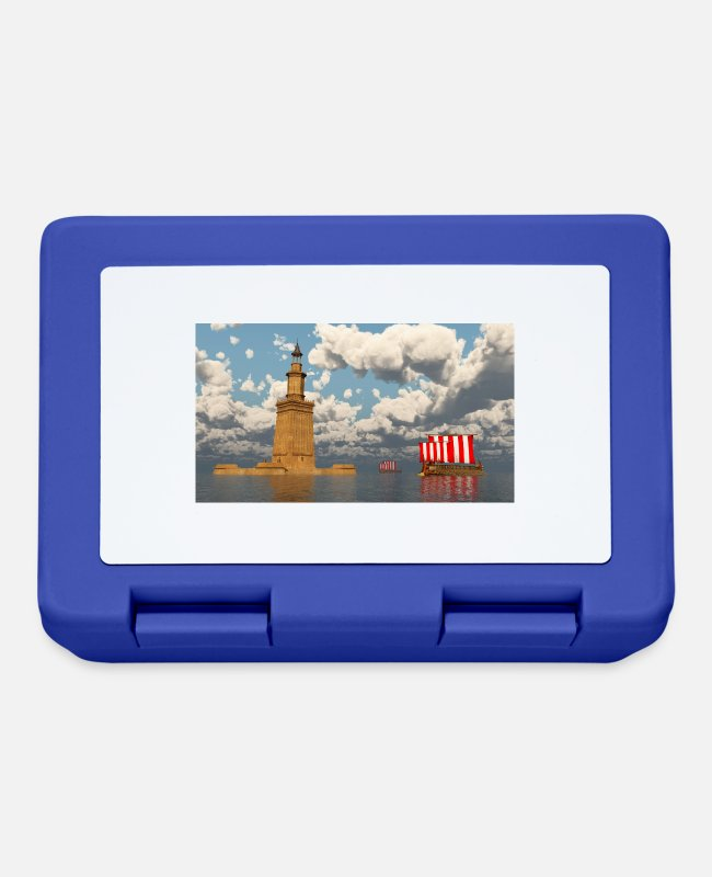 Monument Lunchboxes - Pharos of Alexandria and ancient warships - Lunchbox royal blue