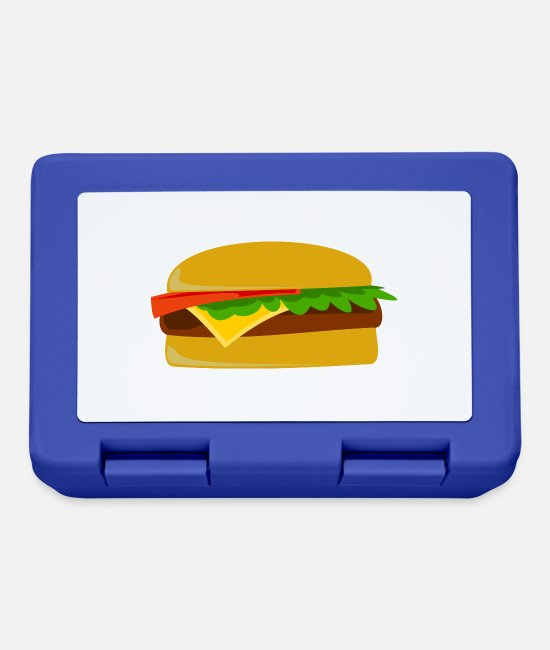 Grill Lunchboxes - burger hamburger cheeseburger fast food fastfood9 - Lunchbox royal blue