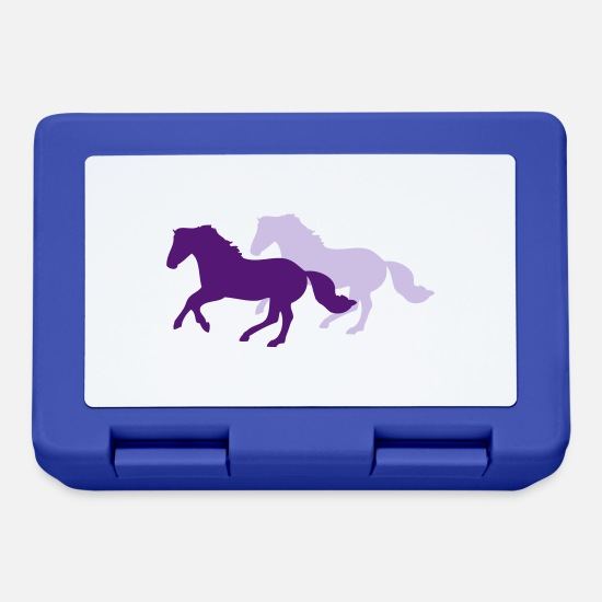Foal Lunchboxes - Two galloping horses - you can change all colours - Lunchbox royal blue