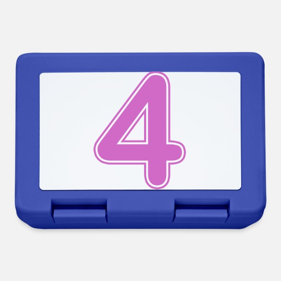 Birthday Lunchboxes - Number - Shirt number - 4 - Lunchbox royal blue