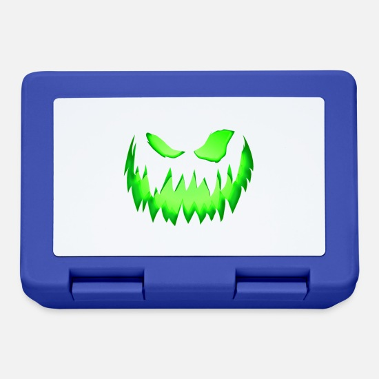 Magic Lunchboxes - Green monster face - Lunchbox royal blue