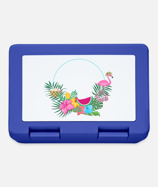 Wreath Lunchboxes - beachy_wreath_flamingo - Lunchbox royal blue