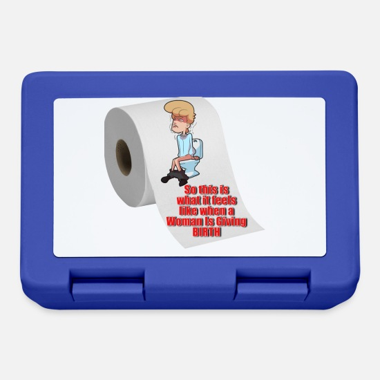 Restroom Lunchboxes - Man Giving Birth - Lunchbox royal blue