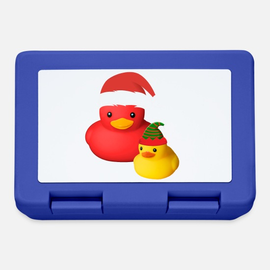 Birthday Lunchboxes - Cute rubber duck Santa Claus elf costume - Lunchbox royal blue